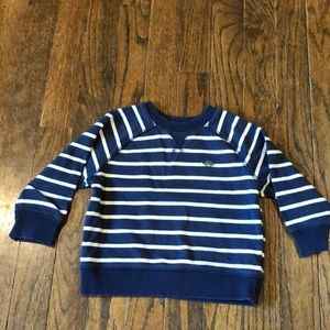 Blue and white striped sweatshirt